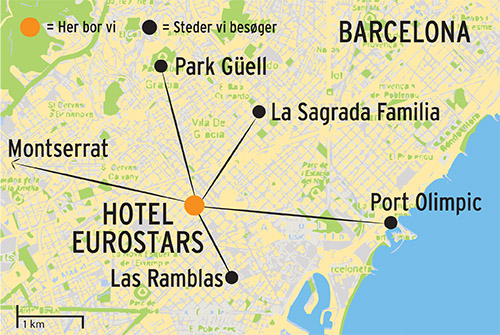 Kort over rejsen Barcelona a la carte