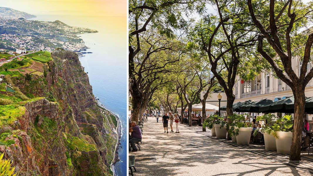 Madeira Funchal gade, udsigt ved Cabo Girao