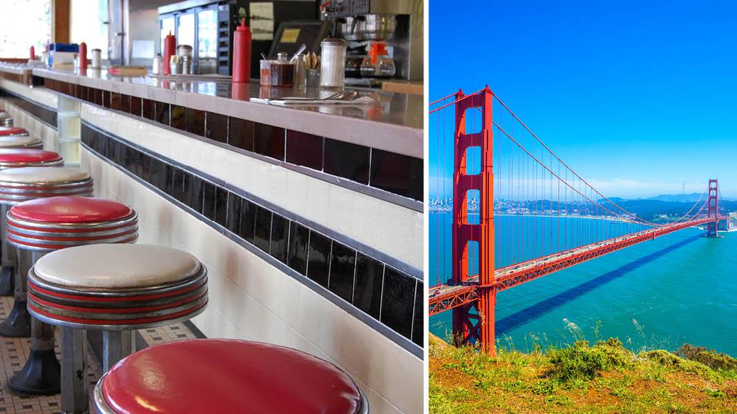 Golden Gate Bridge og diner i San Francisco