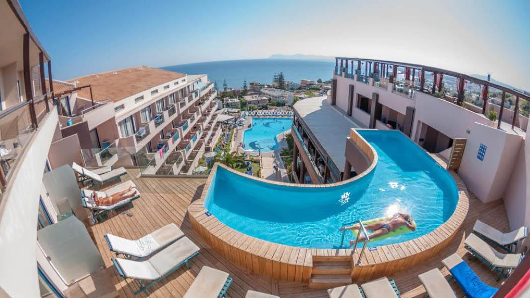 Pool og hav udsigt Hotel Galini Seaview