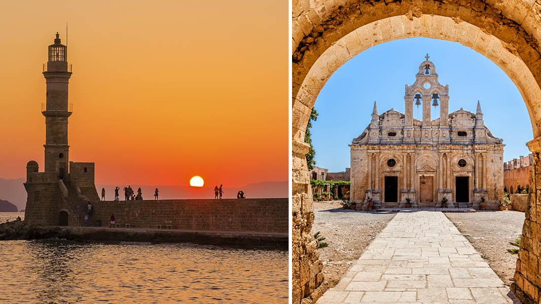 Fyrtårn og Arkadi Monastery kloster i Chania på Kreta