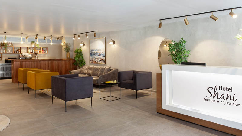 Receptionsområdet på Shani Hotel Jerusalem