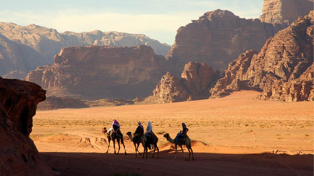 På kamel i Wadi Rum ørkenen i Jordan