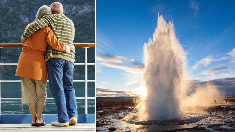 Par på krydstogtrejse. Gletsjer på Island.
