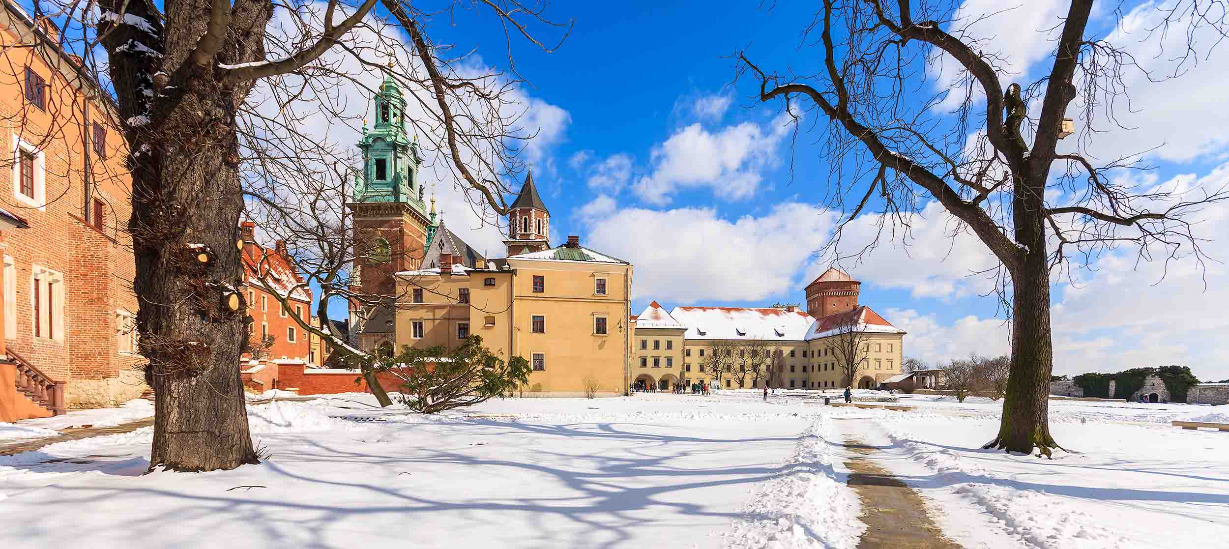 Snefald på nytårsaften i Krakow, Polen