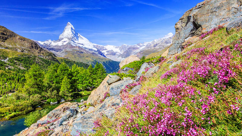 Området omkring Zermatt, Schweiz