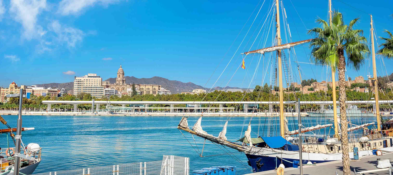 Havnefronten i Malaga, Spanien