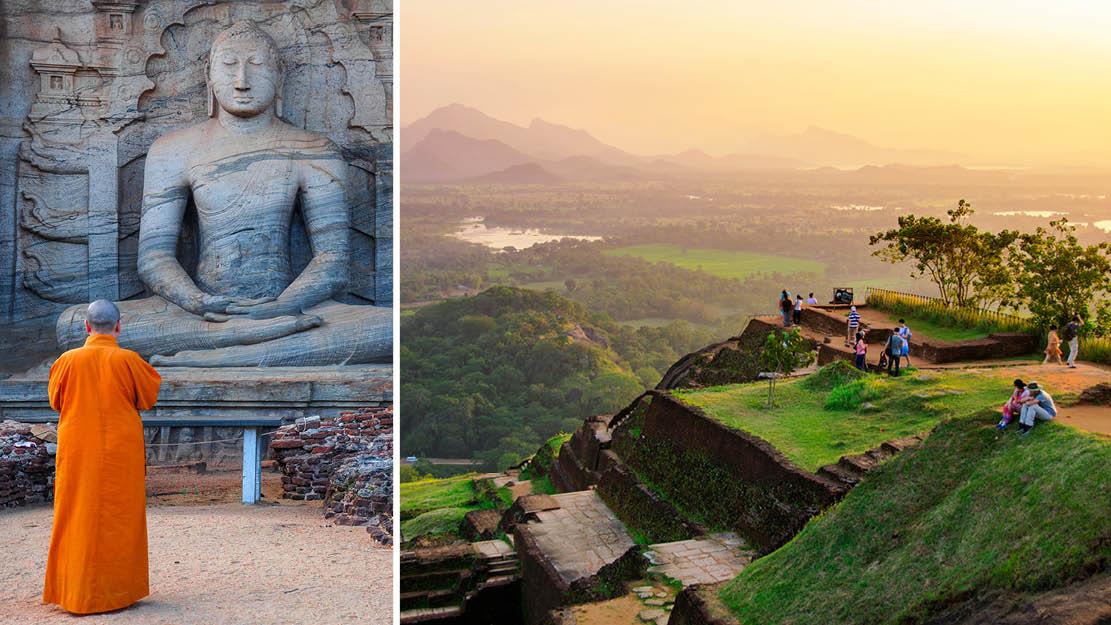 Buddha statue i Polonnaruwa samt klippe i sigiriya Sri Lanka